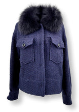 Load image into Gallery viewer, Carla, 57 cm. - Collar - 3D Herringbone Wool Fabric - Navy