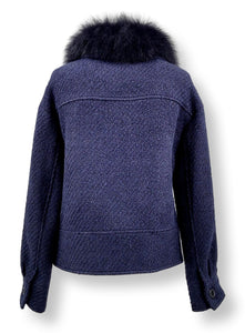 Carla, 57 cm. - Collar - 3D Herringbone Wool Fabric - Navy