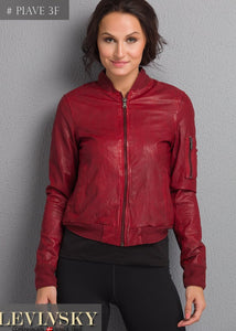 Ladies Piave - Lamb Rover Leather - Women - Red / Læder Skinds Jakke - Levinsky - Kvinde | STAMPE PELS