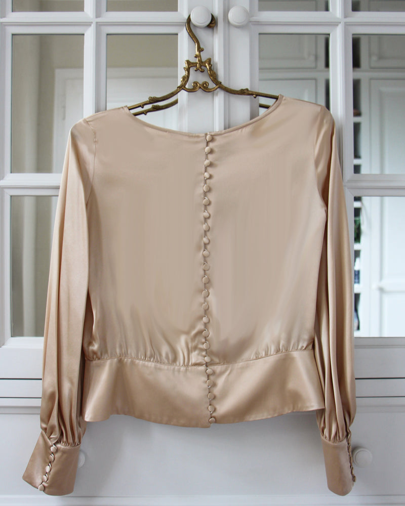 silk blouse puff long sleeves buttons nude