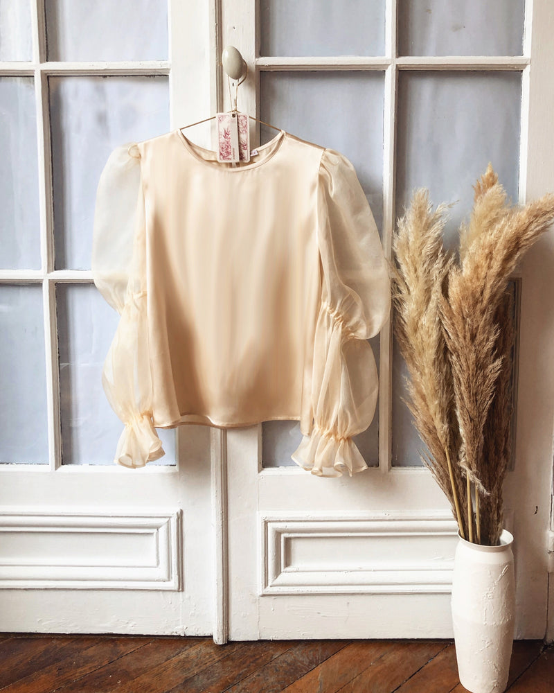 silk organza puff sleeves blouse nude