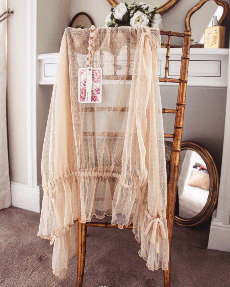 nude high neck long sleeves blouse lace sheer