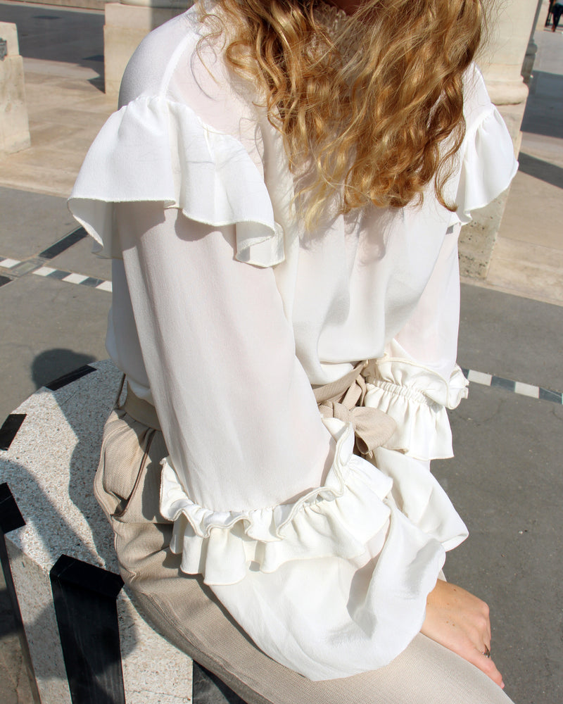 white high neck long sleeves silk blouse with ruffle