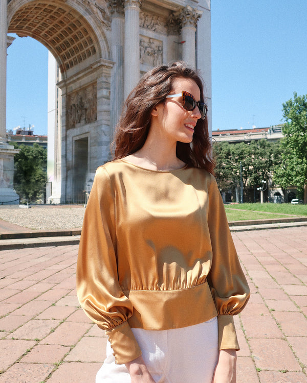 silk blouse puff long sleeves buttons gold