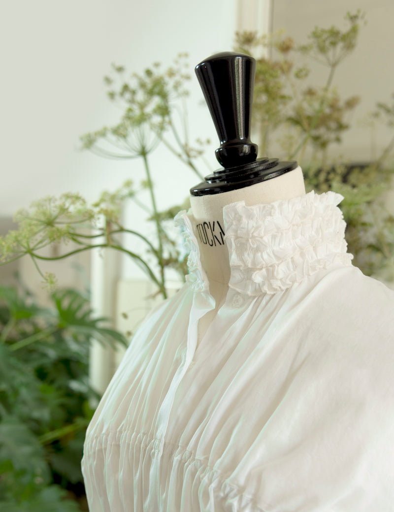 white high neck long sleeves cotton blouse with ruffle