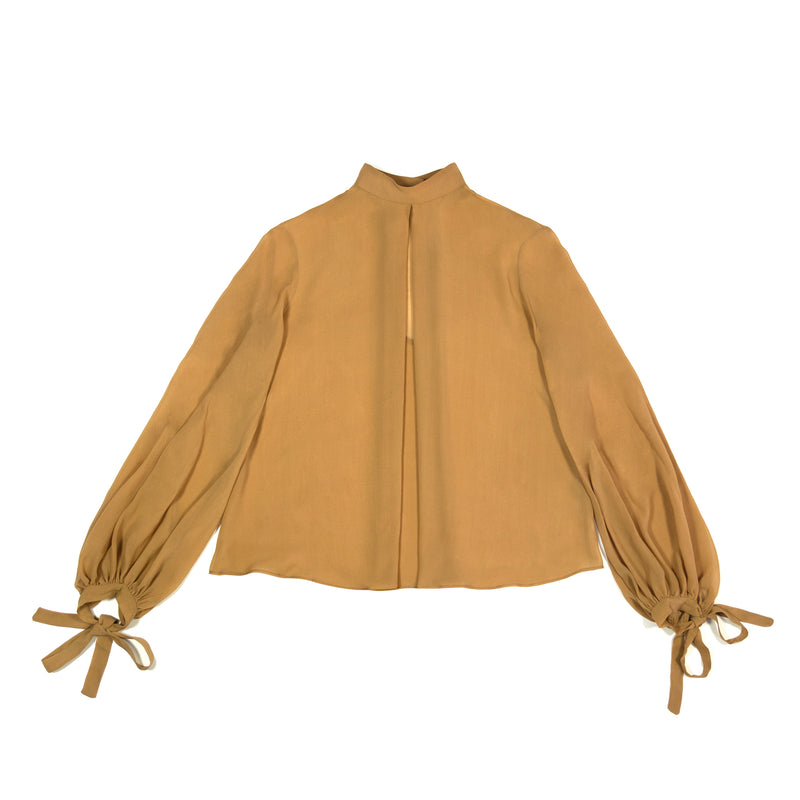high neck long sleeves silk blouse caramel