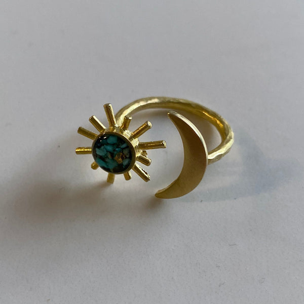 Sun and Moon Adjustable Ring