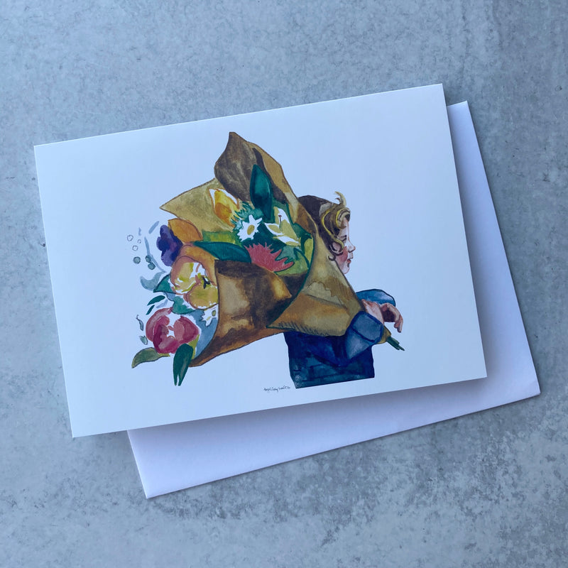 Bringing Home Flowers Card