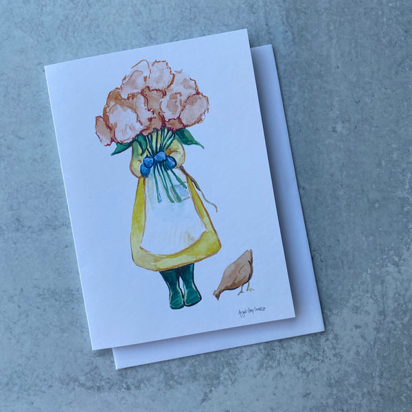 Gardener with Pink Flowers Card