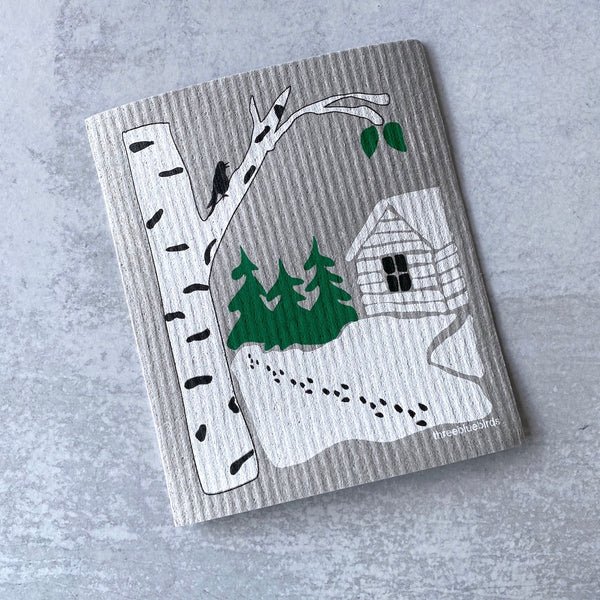 Swedish Dishcloth - Snowy Cabin