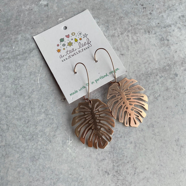 Monstera Leaf Rose Gold Earrings