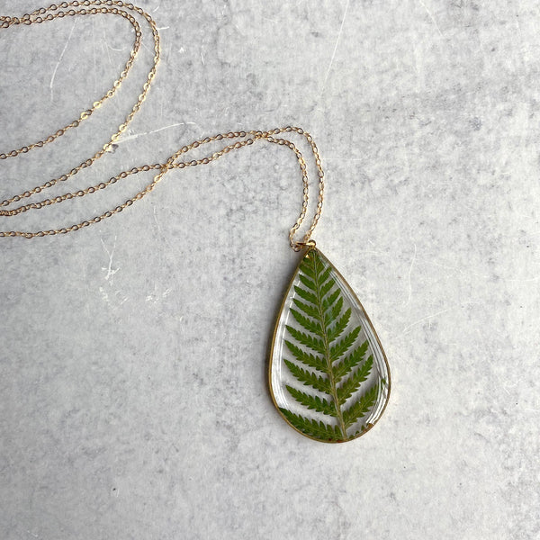 Gold Fern Teardrop Necklace