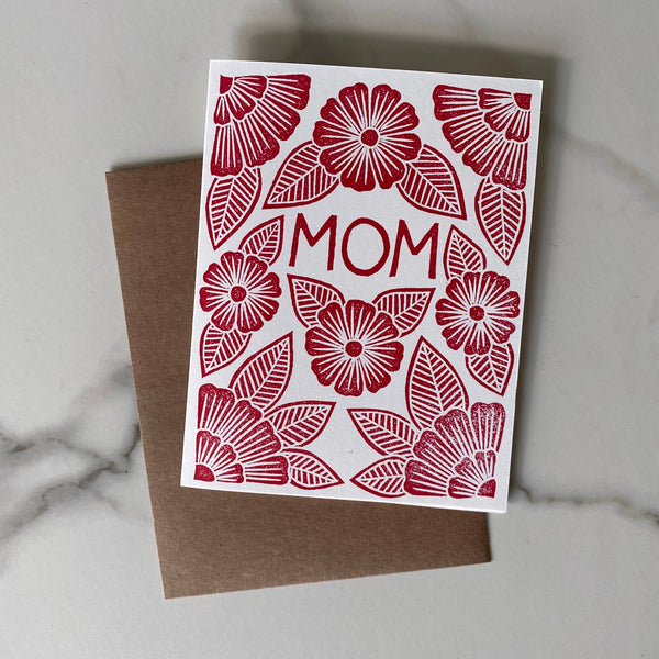 Mom Block Printed Card ~ Red
