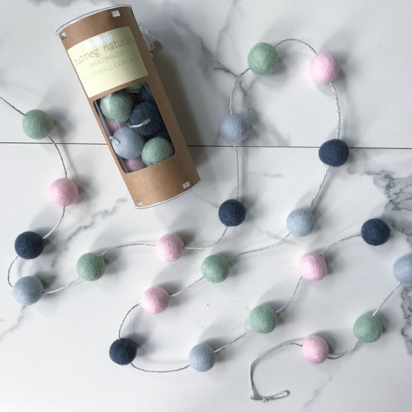 Modern Felted Wool Ball Garland
