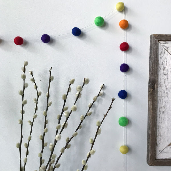 Rainbow Felted Wool Ball Garland