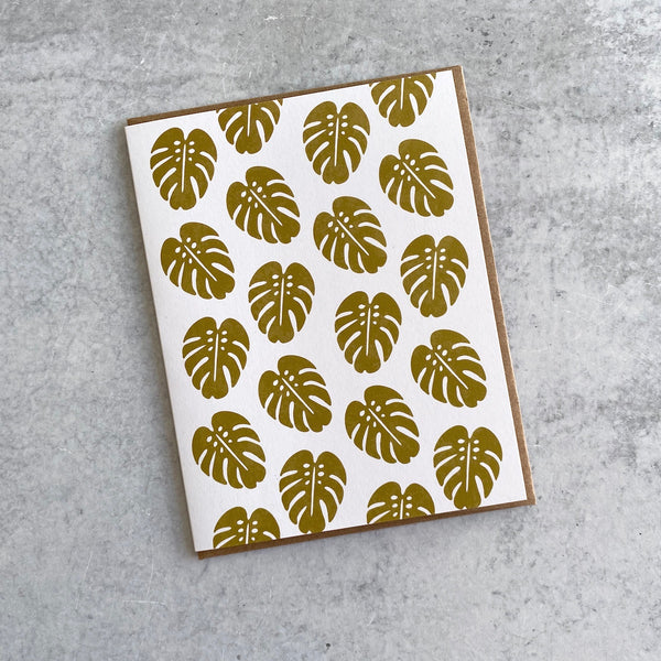 Monstera Leaf Pattern Card