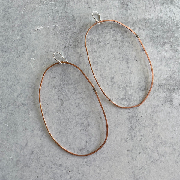 Hammered Copper Hoop Earrings