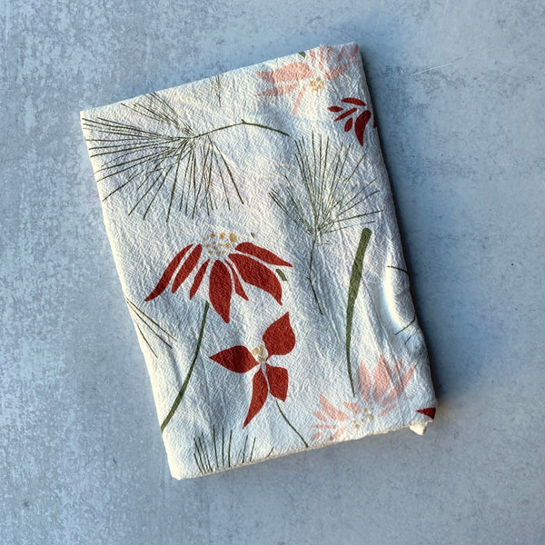 Tea Towel - Poinsettia & Pine