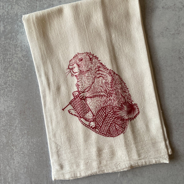 Tea Towel - Knitting Marmot