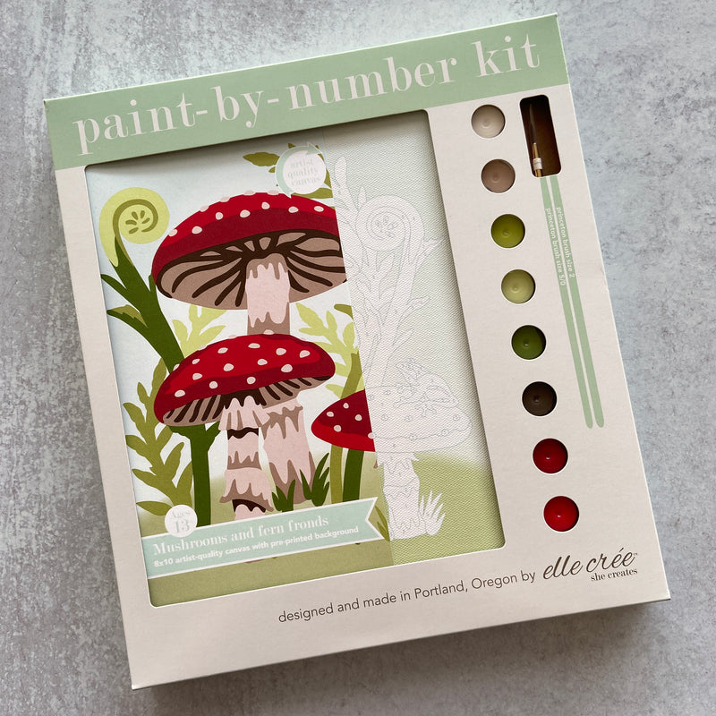 Mushroom and Fern Paint by Number