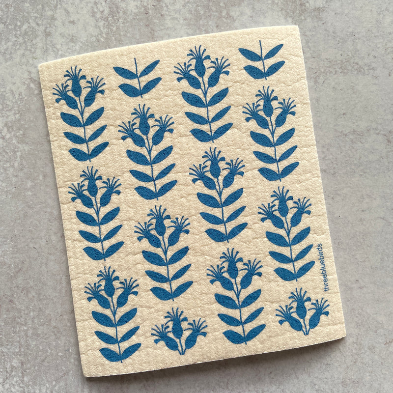 Swedish Dishcloth - Blue Buds
