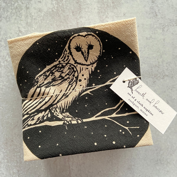 Barn Owl Organic Cloth Napkins