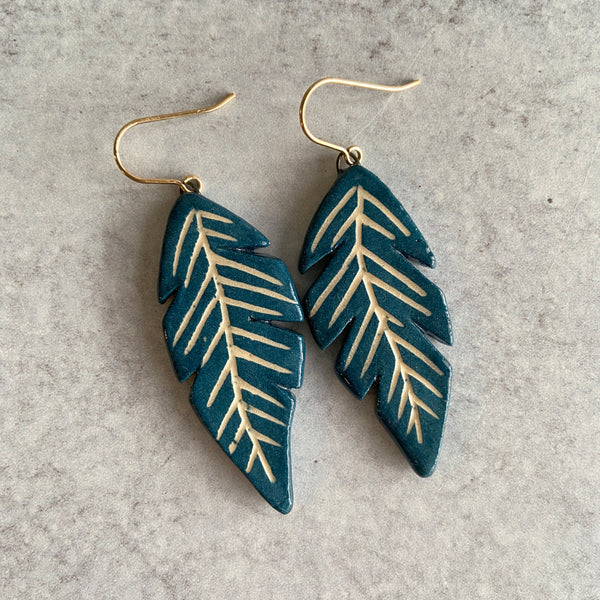 Indigo Feathers Earrings