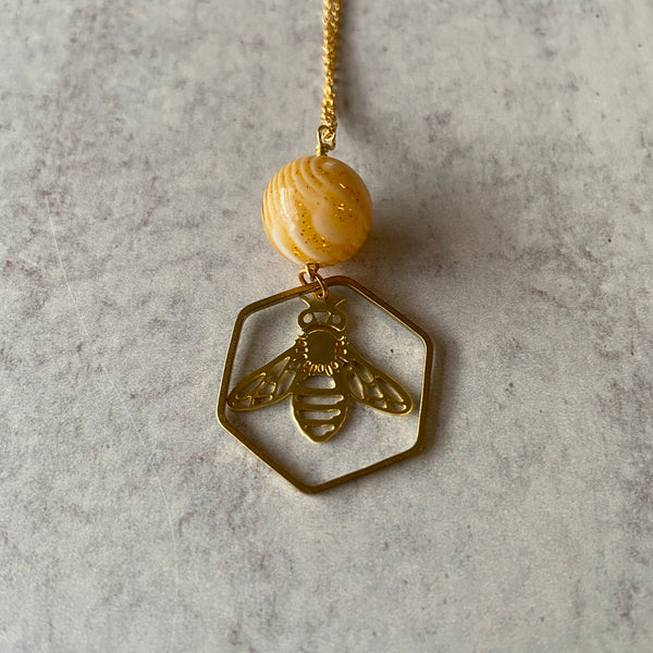 Honeybee Necklace with Vintage Resin Honey Bead