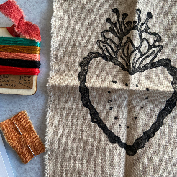 Embroidery Kit: Heart Block Print Kit