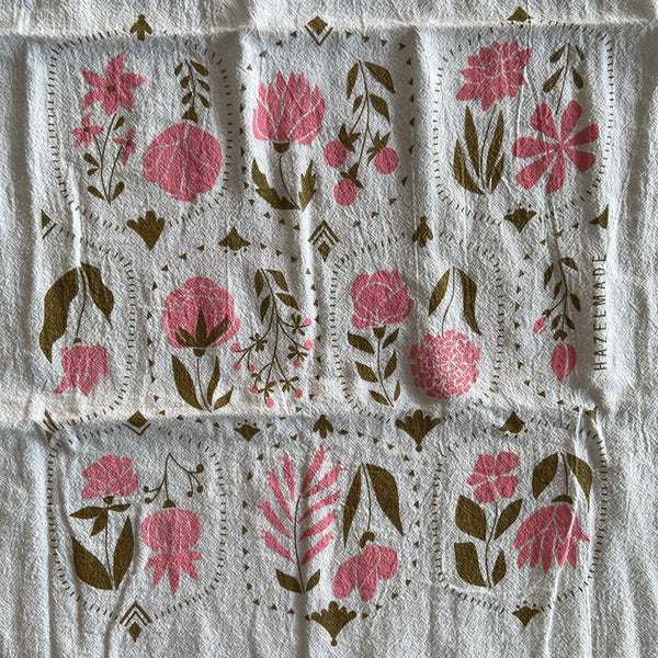 Tea Towel - Vintage Floral with Gold