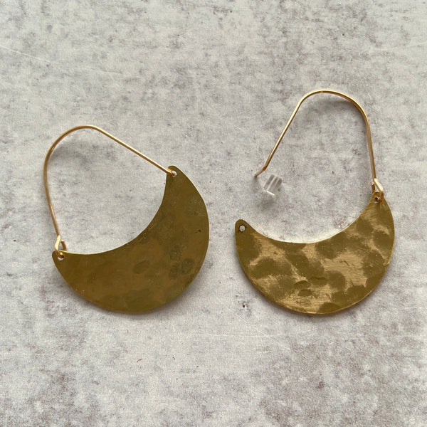 Hammered Crescent Hoop Earrings