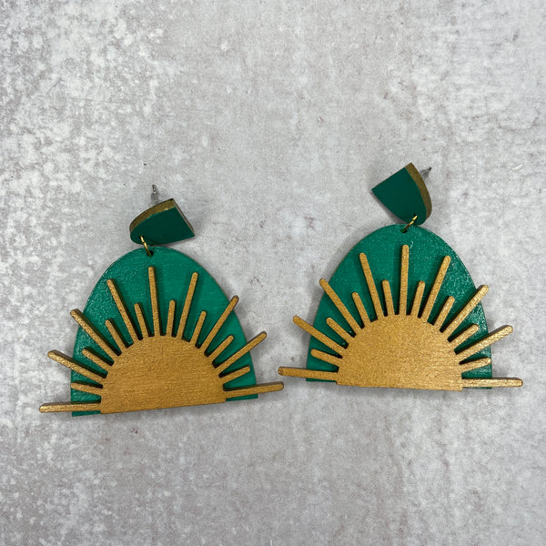 Rising Sun Wooden Earrings