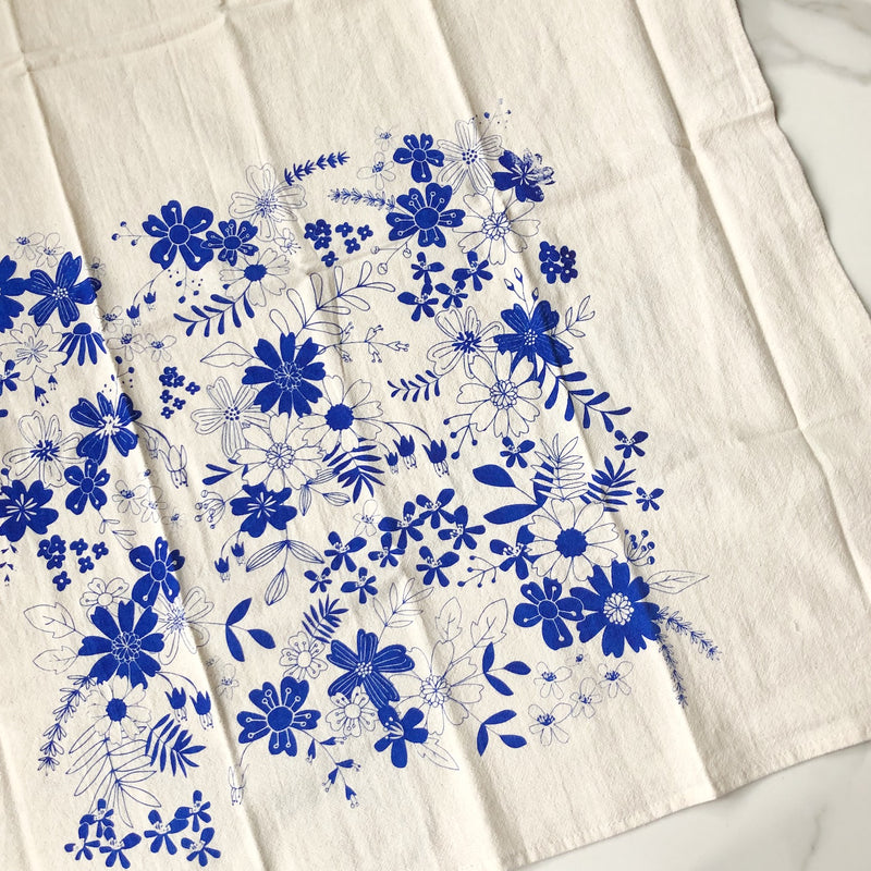 Vintage Floral Cotton Tea Towel
