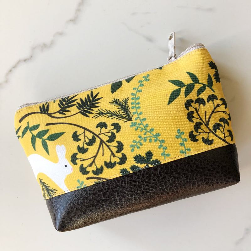 Small Cosmetic Clutch ~ Yellow Rabbit Print Linen