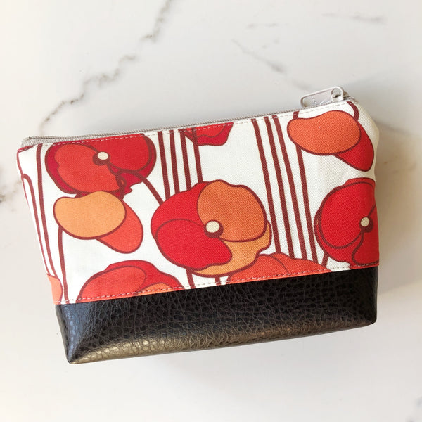 Small Cosmetic Clutch ~ Orange Poppy Linen