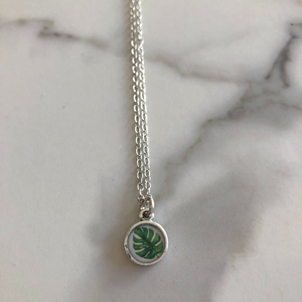 Monstera Necklace - Antique Silver