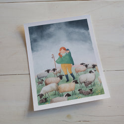 Tending to the Ewes - Print