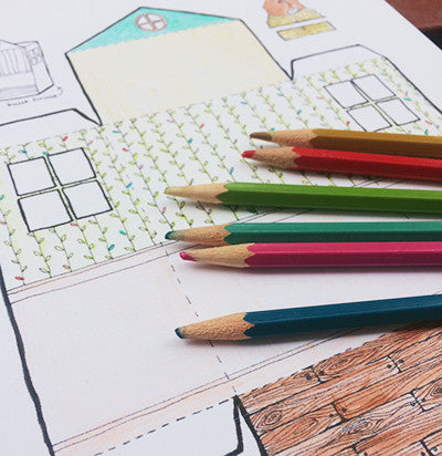 GROW Paper Doll House Coloring Page