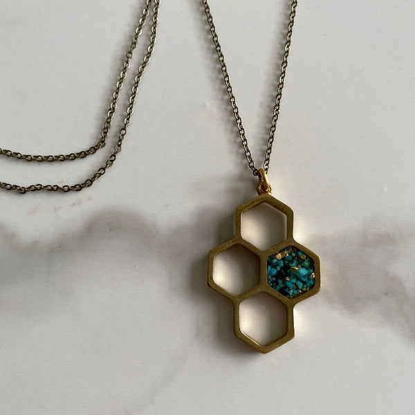 Necklace Honeycomb with Turquoise and Gold Leaf