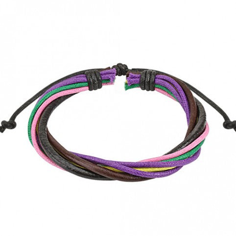 ::SALE:: Leather Drawstring Bracelet Multi Coloured Multi String