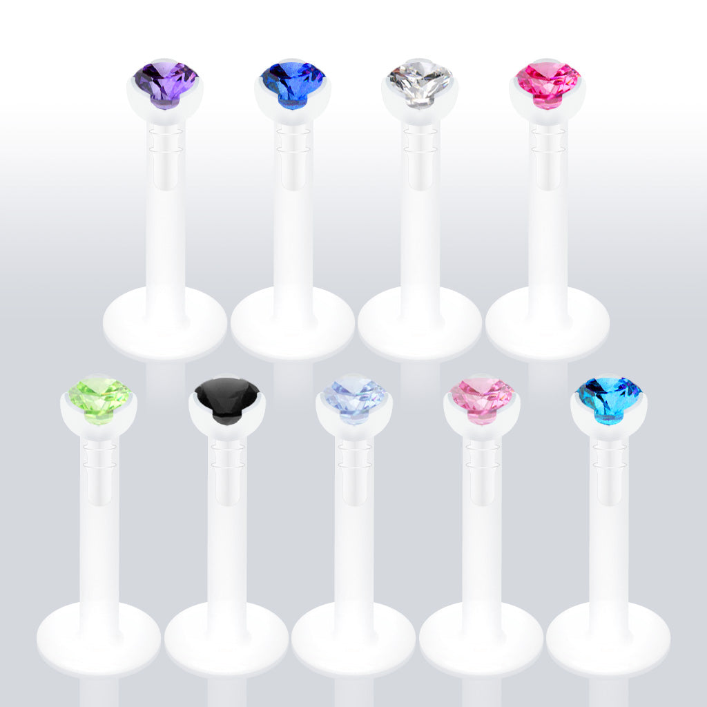 Bio-Flex Labret with Gem Prong Top