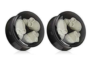 Acrylic Saddle Plug Black 3 Skull Inlay
