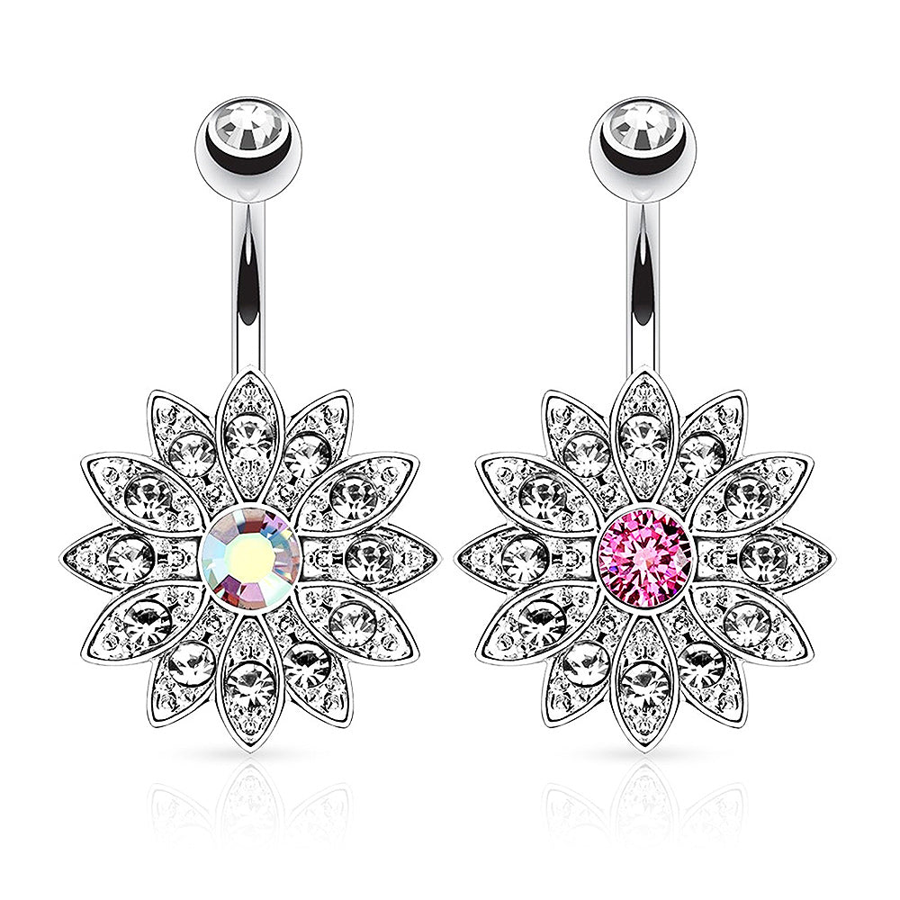 Surgical Steel Navel Ring Paved Gems Flower with Centre