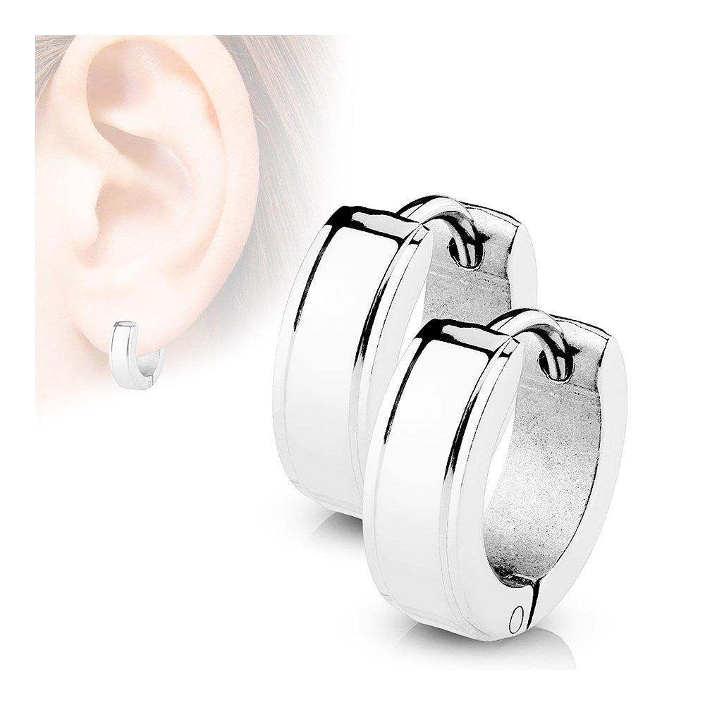 Pair of Surgical Steel Square Earrings with Step Edges