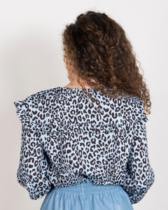 LAVINIA - camicia colletto importante animalier azzurro