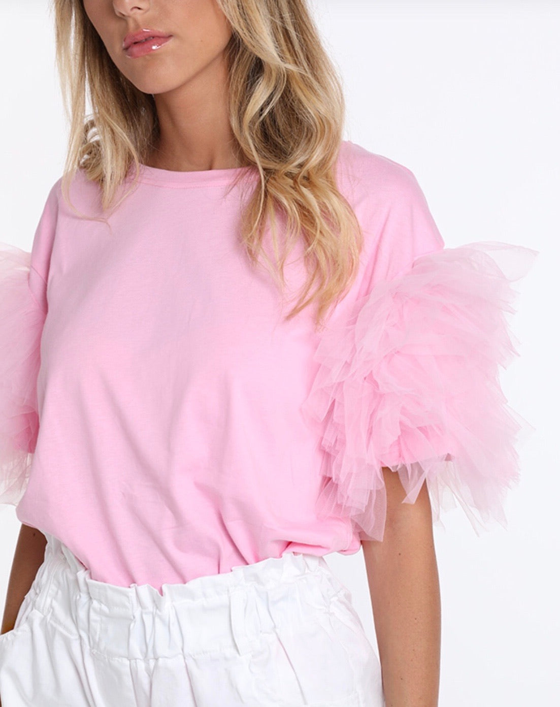 CELIE - T Shirt con manica in tulle