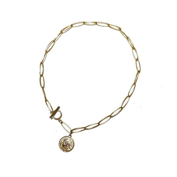 COLLANA CATENA CON ANELLO E MONETA