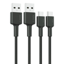 Braided Nylon USB-A to C Cable (6.6ft 2-Pack)