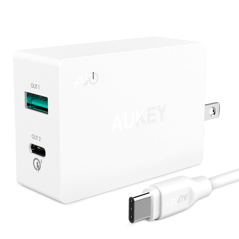 27W Dual-Port Wall Charger with QC 3.0 USB-C