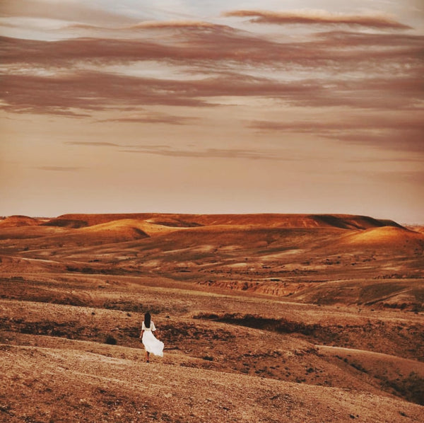Woman in white dress walking into the desert.